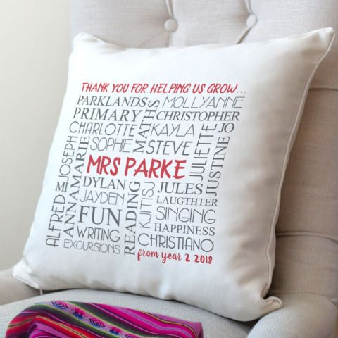 Personalised Thank You Teacher Word Art Cushion